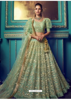 Sea Green Heavy Embroidered Designer Net Wedding Lehenga Choli