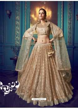 Gold Heavy Embroidered Designer Net Wedding Lehenga Choli