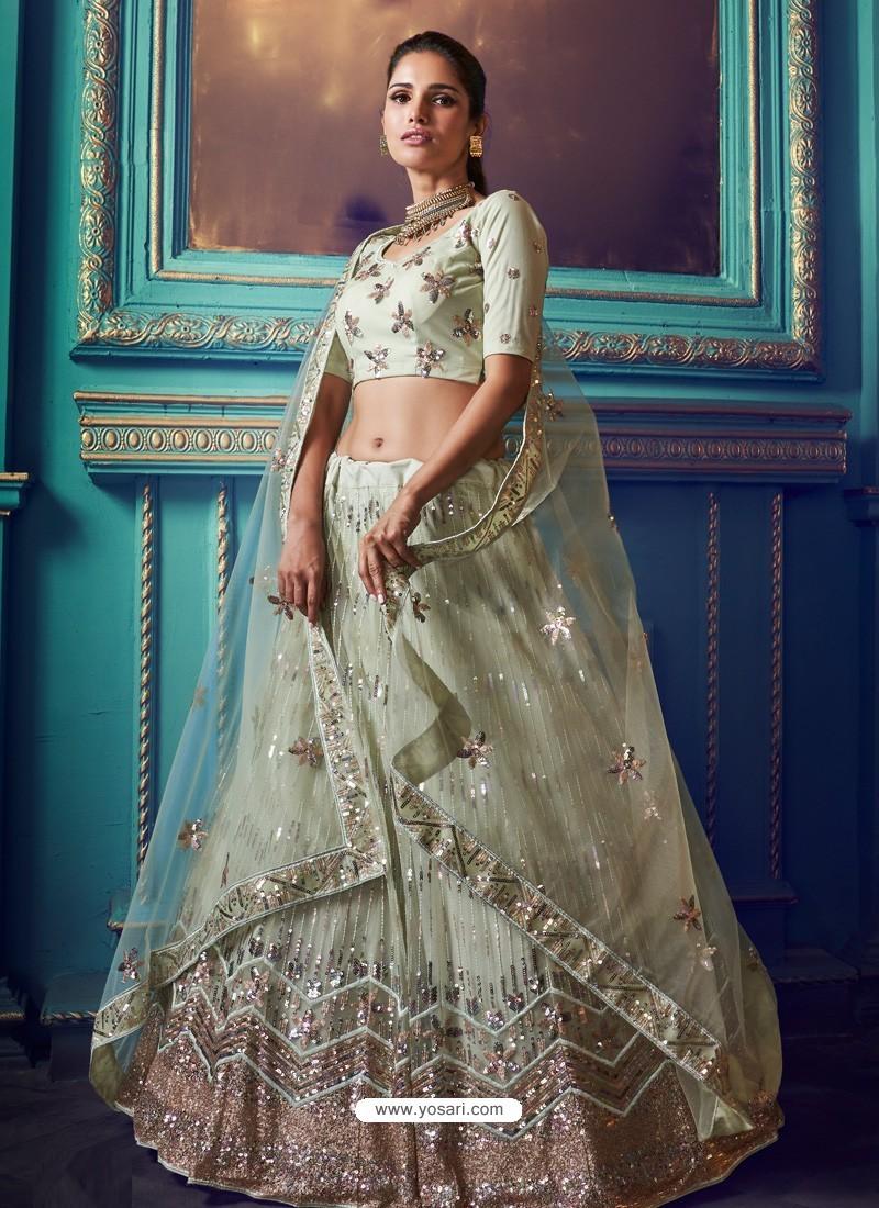 Sea Green Heavy Embroidered Designer Net Wedding Lehenga Choli