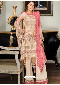 Light Beige Party Wear Designer Georgette Pakistani Suit