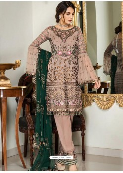 Light Brown Party Wear Designer Georgette Pakistani Suit