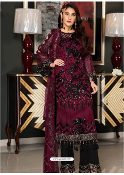Deep Wine Party Wear Designer Georgette Pakistani Suit