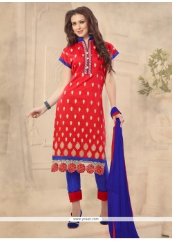 Invaluable Chanderi Embroidered Work Churidar Designer Suit