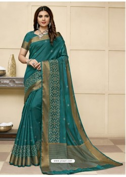 Teal Latest Designer Party Wear Raw Silk Sari
