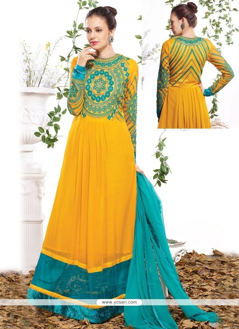 Titillating Georgette Resham Work Anarkali Suit