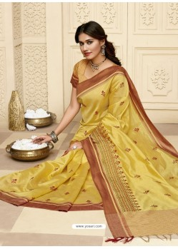 Yellow Latest Designer Party Wear Raw Silk Sari