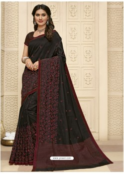 Black Latest Designer Party Wear Raw Silk Sari