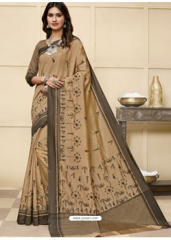 Beige Latest Designer Party Wear Raw Silk Sari
