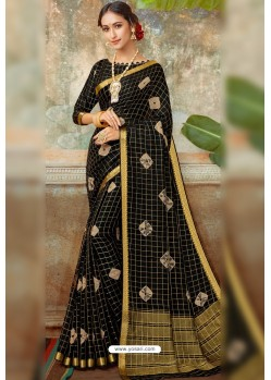 Black Latest Designer Classic Wear Chiffon Sari