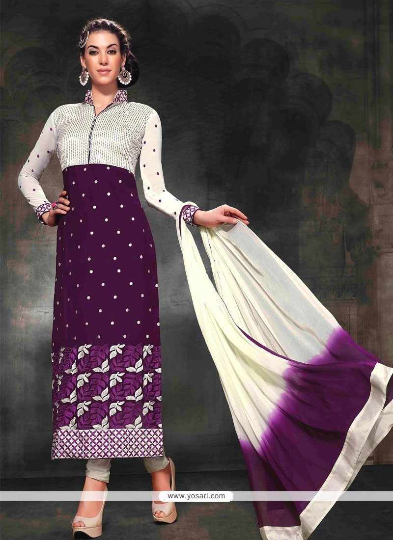 Blooming Purple Georgette Churidar Salwar Kameez