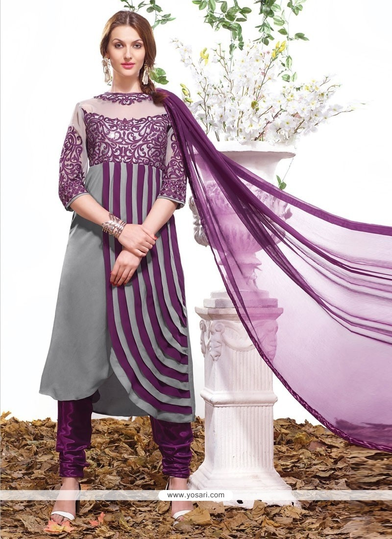 Superb Grey Churidar Salwar Kameez