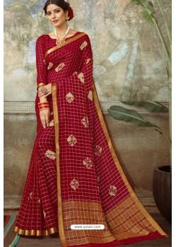 Maroon Latest Designer Classic Wear Chiffon Sari