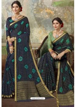 Navy Blue Latest Designer Classic Wear Chiffon Sari