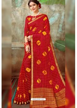 Red Latest Designer Classic Wear Chiffon Sari