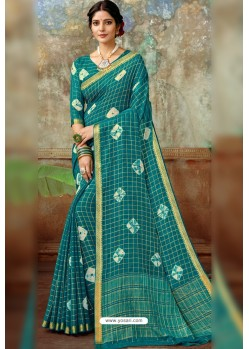 Teal Latest Designer Classic Wear Chiffon Sari