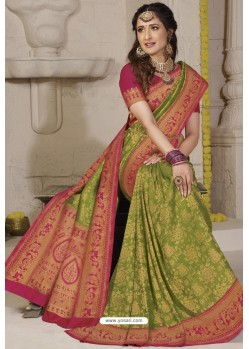 Parrot Green Latest Designer Classic Wear Silk Sari