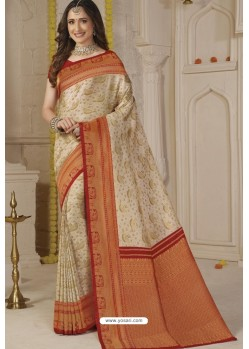 Off White Latest Designer Classic Wear Silk Sari