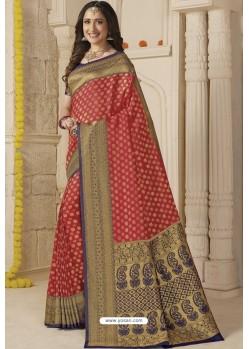 Red Latest Designer Classic Wear Silk Sari