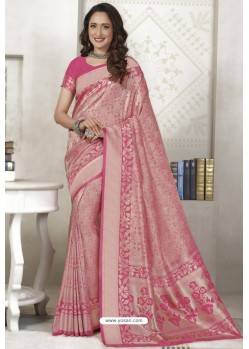 Hot Pink Latest Designer Classic Wear Silk Sari