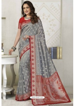 Grey Latest Designer Classic Wear Silk Sari