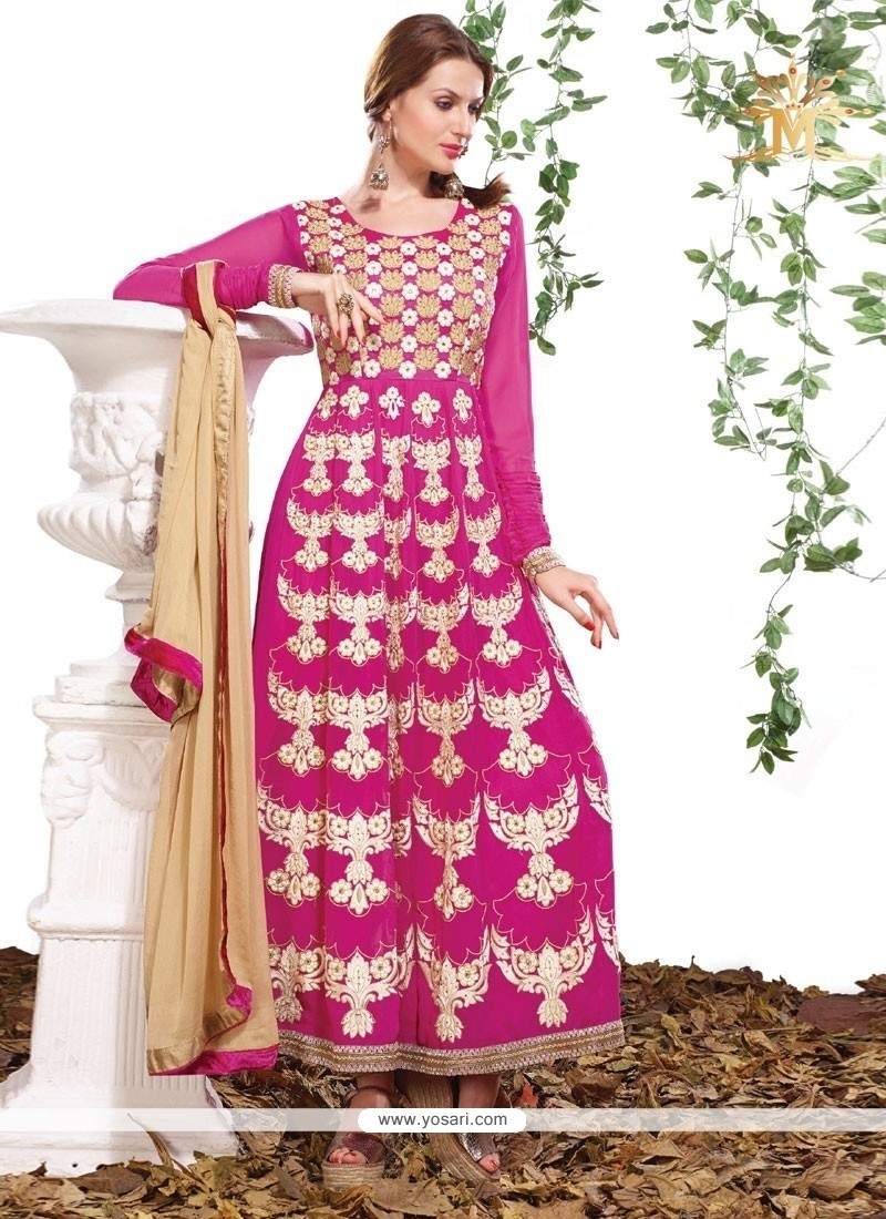Flawless Embroidered Work Pink Art Silk Anarkali Salwar Suit