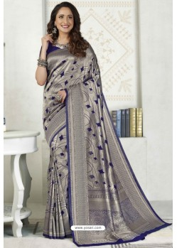 Silver Latest Designer Classic Wear Silk Sari