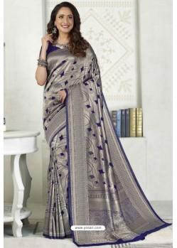Silver Latest Designer Classic Wear Silk Sari