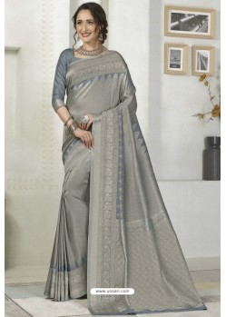 Light Grey Latest Designer Classic Wear Silk Sari