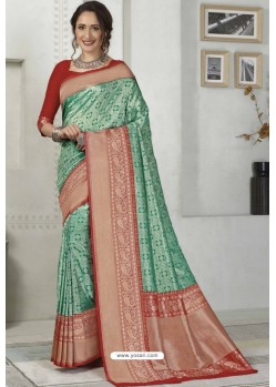 Aqua Mint Latest Designer Classic Wear Silk Sari