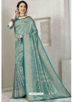 Turquoise Latest Designer Classic Wear Silk Sari