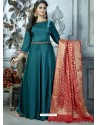 Teal Heavy Designer Embroidered Party Wear Gown Style Readymade Anarkali Suit