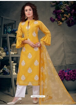 Yellow Latest Designer Party Wear Readymade Palazzo Suit