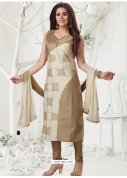 Beige Latest Designer Party Wear Readymade Straight Salwar Suit