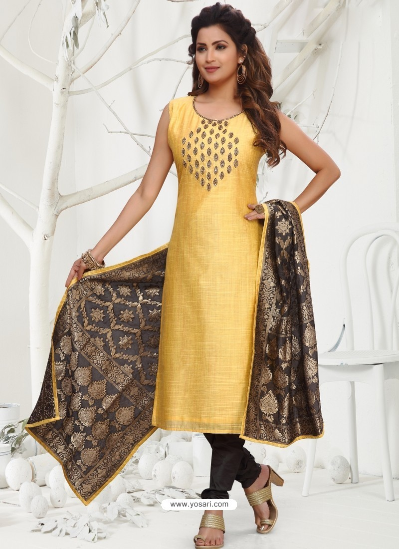 Yellow Latest Designer Party Wear Readymade Straight Salwar Suit
