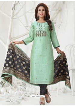 Sea Green Latest Designer Party Wear Readymade Straight Salwar Suit