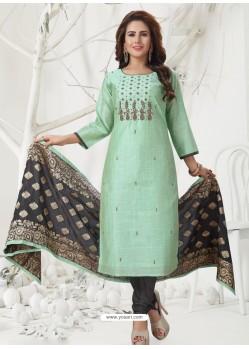Sea Green Latest Designer Party Wear Readymade Straight Salwar Suit