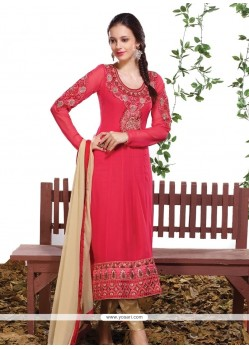 Prominent Hot Pink Resham Work Designer Straight Salwar Kameez