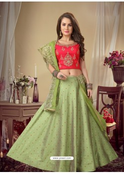 Green Stylish Designer Readymade Party Wear Lehenga