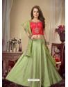 Green Stylish Designer Readymade Party Wear Lehenga