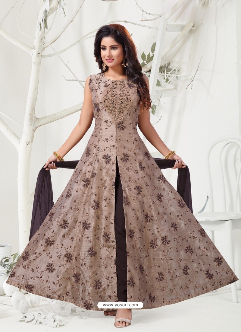 Light Brown Heavy Designer Embroidered Party Wear Front Cut Readymade Anarkali Suit