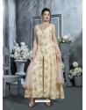 Cream Heavy Designer Embroidered Party Wear Front Cut Readymade Anarkali Suit