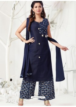 Navy Blue Latest Designer Party Wear Readymade Palazzo Suit