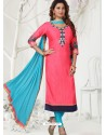 Fuchsia Latest Designer Party Wear Readymade Straight Salwar Suit