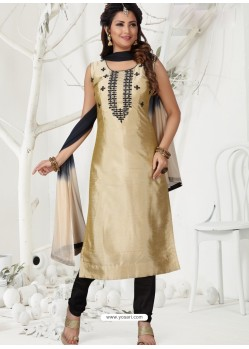 Gold Latest Designer Party Wear Readymade Straight Salwar Suit