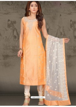 Light Orange Latest Designer Party Wear Readymade Straight Salwar Suit