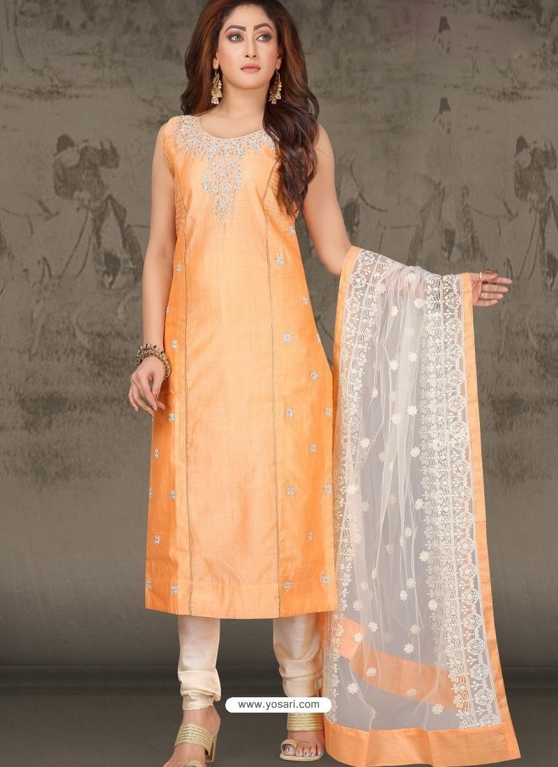 Light Orange Latest Designer Party Wear Readymade Straight Salwar Suit
