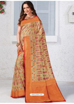 Beige Latest Designer Traditional Wear Banarasi Silk Sari