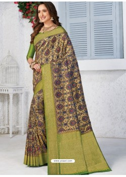 Multi Colour Latest Designer Traditional Wear Banarasi Silk Sari