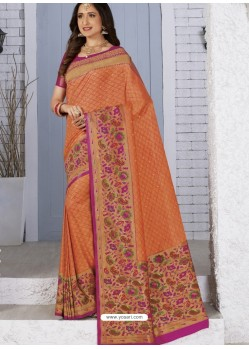 Orange Latest Designer Traditional Wear Banarasi Silk Sari
