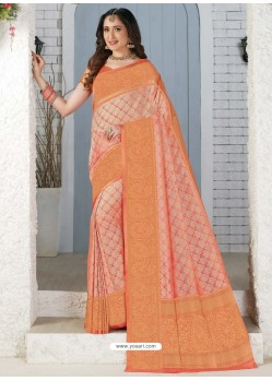 Peach Latest Designer Traditional Wear Banarasi Silk Sari